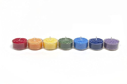 Gift Set of 7 Rainbow Chakra Scented Healing Aroma Tea Light Candles in Giftbox by Something Different