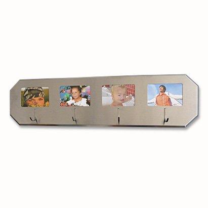 Garderobenleiste / Handtuchhalter aus Edelstahl mit 4 Fotorahmen Kleiderhaken Garderobe Foto Hakenleiste
