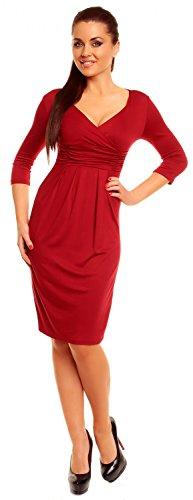 Zeta Ville - Robe élégante en jersey - Manches ¾ - Décolleté en V - Femme - 001z Crimson