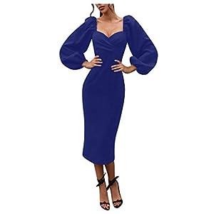 Allegorly Damen Elegant MidiKleid Laternenärmel Sexy V-Ausschnitt Bodycon Langarm Wickelkleid A-Linie Etuikleid Cocktail…