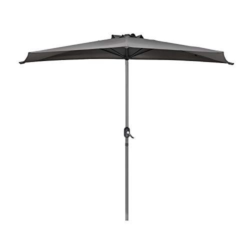 Sekey Outdoor 2.7m Demi Parasol en Acier Parasol Une verrière 100% Polyester (Gris), UV 50+