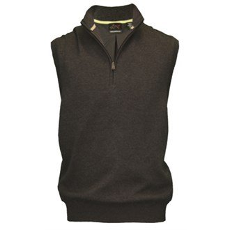Greg Norman Men's Pima Cotton Lined 1/4 Zip Vest - Charcoal, Small