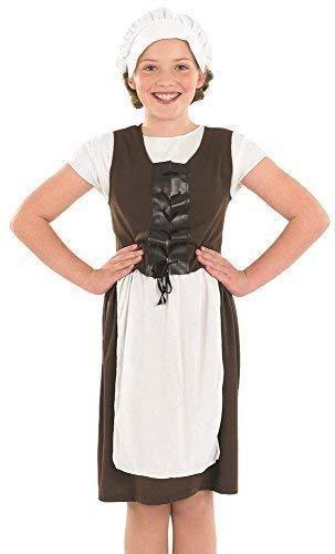 (Mädchen Braune Weiß Poor Tudor Mädchen Viktorianisch Küche Dienstmagd Büchertag Kostüm Kleid Outfit 4-12 Jahre - Braun, 6-8 Years)