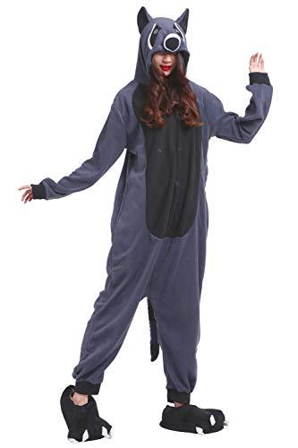 (AKAAYUKO Kostüm Jumpsuit Onesie Tier Erwachsene Unisex Cosplay Schlafanzug Grauer Waschbär)