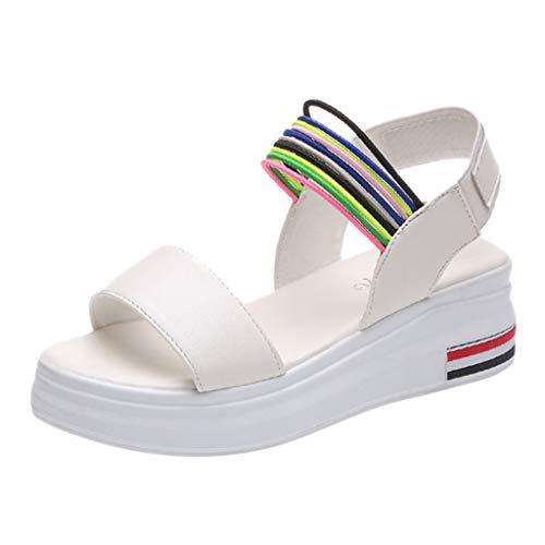 Wawer Dicker Boden Sexy Damen Sandalen, Frauen Sommer Riemen Roman Wind Straps Toe Flache Sandalen Schuhe Hochzeit Sandalen Größe 35-39 Sexy Boden