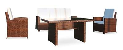 Baidani Designer Sitzgruppe Comfort, 1 Sofa, 2 Sessel, 1 Tisch mit Glasplatte