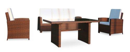 Baidani Gartenmöbel-Sets 10c00039.00001 Designer Rattan Lounge-Garnitur Comfort, 3-er-Sofa, Sessel, Auflagen, Rückenkissen, 1 Tisch mit Glasplatte, schwarz