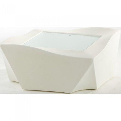 Table basse lumineuse avec plaque en verre