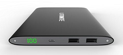 Litionite® Plasma 20000mAh Power Bank Batería externa de aluminio portátil cargador bolsillo Ultra Delgado Touch Screen universal con pantalla LED. Diseño y estilo moderno para todos los modelos de Smartphone y Tablet (Black)