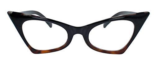 50er Jahre Fashion Brille Cat Eye Modell Klarglas ohne Stärke Vintage Nerdbrille mit Farbverlauf CN13 (Schwarz/Leo)