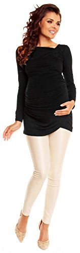 Zeta Ville- maternité - robe tunique de grossesse - manche longue - femme - 941c Noir