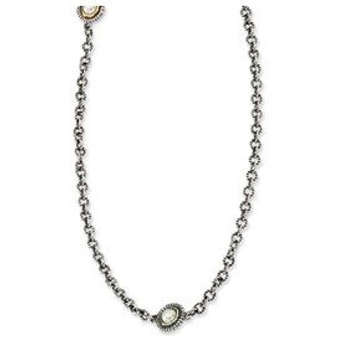 Ster. Argento Giallo 14ct 5MM collana di perle d' acqua dolce–30