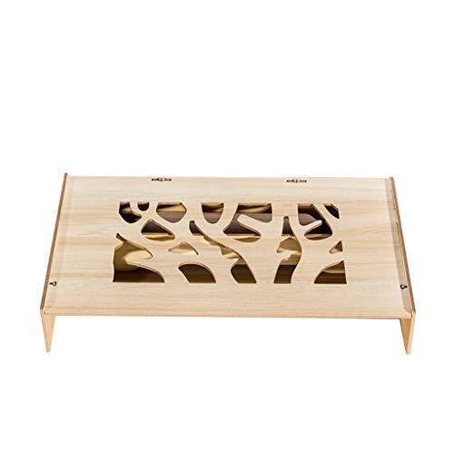 Notebook-Display Erhöht Schreibtisch Lagerregal Erhöht Basis Holz Multifunktions Verstellbare Unterstützung (47x26x8cm) ## (Color : Wood color) -