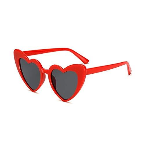 XIAOXINGXING Markendesigner Vintage Sonnenbrille Mode Liebe Herz Sonnenbrille Frauen Niedlich Sexy Retro Cat Eye Vintage Billig Sonnenbrille Rot Weiblich (Lenses Color : C3)