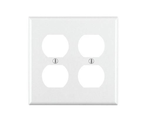 Leviton 88016 2-Gang Duplex Device Receptacle Wallplate, Standard Size, Thermoset, Device Mount, White by Leviton (Leviton Duplex)