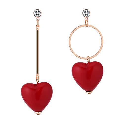 Demarkt Pendientes Asimétricos Forma Corazón Rojo