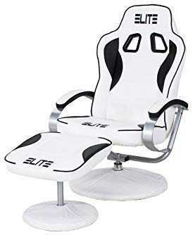 ELITE Deluxe Gaming Sessel MG-300 – Bürostuhl – Gamingstuhl – Streamingstuhl – Drehstuhl – Ergonomisch – Racingoptik – Fußhocker – Chefsessel – Racing (Weiß/Schwarz)