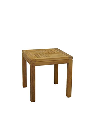 Antike Fundgrube Gartentisch Beistelltisch Tisch massiv Teakholz unbehandelt 50 x 50 cm (8958) -