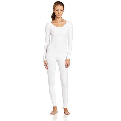 Damen Mädchen Ganzkörper Tanz KLEID Fitnessstudio Catsuit - weiß, XL ()