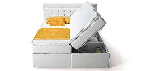 Boxspringbett mit Bettkasten weiß Celia2 Doppelbett Hotelbett Topper Taschenfederkern (180x200cm)