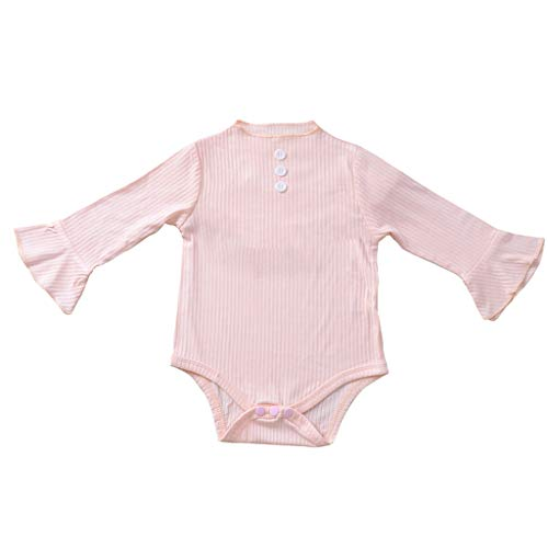 Livoral Mädchenoverallbabybabykindermädchen Normallack gestreifte beiläufige Abnutzung der Faltenoverall-Strumpfhose(A-Rosa,12-18 Monate) -