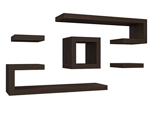 Ve.ca-italy mensola composizione ilary 4 cm in legno, arredo casa, design 100% made in italy, living, camera, cucina in 10 diverse colorazioni (wengè)