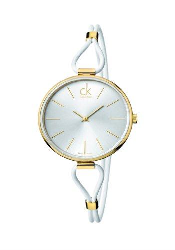 CK Damen-Armbanduhr Analog Quarz Leder K3V235L6