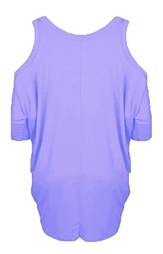 Islander Fashions Womens Cold Cut paule Baggy Top Mesdames Celebs manches 3/4 Courbe ourlet Baggy Top S/3XL Lilac