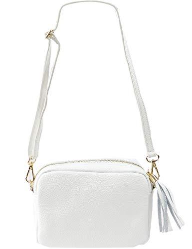 Freyday Echtleder Umhängetasche Clutch kleine Tasche Abendtasche 20x15cm (Weiß) -