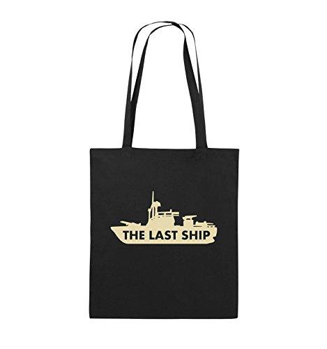 Comedy Bags - THE LAST SHIP - Jutebeutel - lange Henkel - 38x42cm - Farbe: Schwarz / Silber Schwarz / Beige