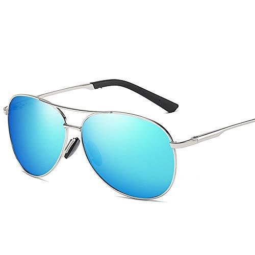 Easy Go Shopping Vintage Trend Aviator Sonnenbrille, Polarisierte Linse mit Etui, 100% UV Schutz Sonnenbrillen und Flacher Spiegel (Farbe : Silver/Blue)