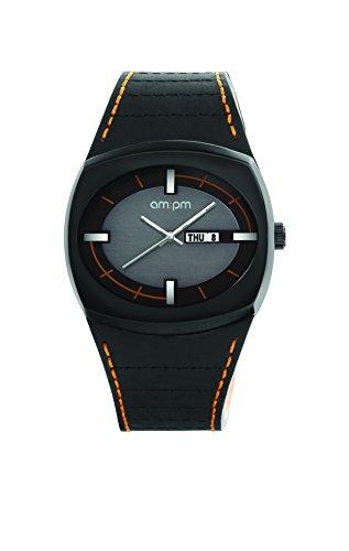 AM:PM Unisex-Armbanduhr PG127-U082 Schwarz IP Stahl Gehäuses Schwarz Leder Armband Quartz
