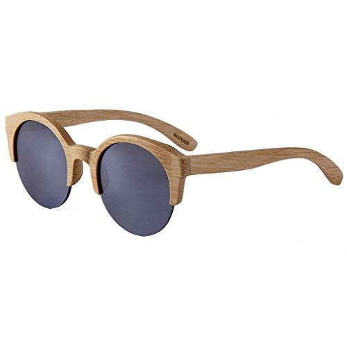 Mode Voll Bambus Halbrand Runde, Männer und Frauen Big Frame Bambus Holz Brille Polarisierte Gläser (Farbe: Weiß Wasser Silber Linse)
