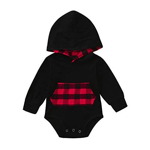 Baby Overall,Staresen Spielanzug Playsuit Mädchen Baby Langarm Overall Jungen Baby Kleidung Overall Unisex Neugeborenes Baby Karierter Overall mit Kapuze