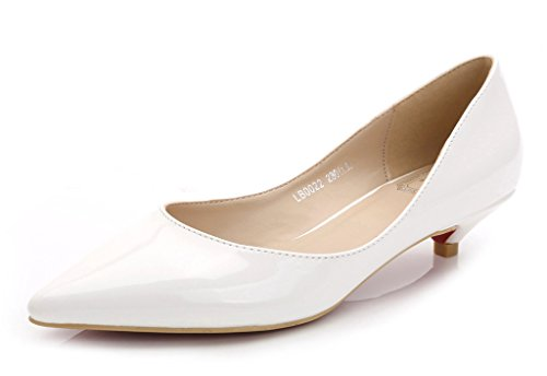 CAMSSOO ,  Damen Klassisch White Patent Leather