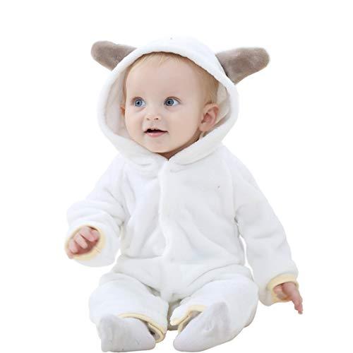 Overall Baby Spielanzug Pyjama Jumpsuit mit Kapuze Flanell Strampler Onesie Kostüm Strampelanzug Romper Langarm Cartoon für Neugeborenen Mädchen Jungen Unisex Herbst Winter Frühling(Weiß,80) - Baby-jungen-langarm-flanell