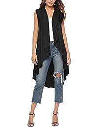 fd46ed207a7388 Swallowuk Damen Cardigan Asymmetrisch Ärmellos Lang Wasserfall Cardigan  Strickjacke Lang Weste Revers Offen Outwear (L