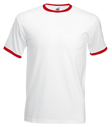 Fruit of the Loom: Ringer T 61-168-0, Größe:XL;Farbe:White/Red