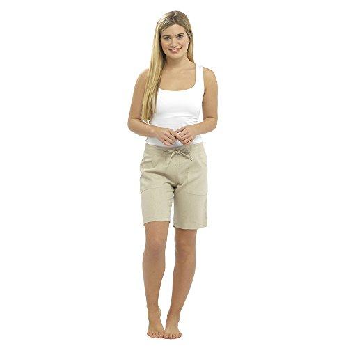 CityComfort Damen Leinen Freizeithosen Urlaub elastische Taille Damen Sommer Hosen Hosen Shorts beschnitten mit Taschen (12, Stein Shorts) -