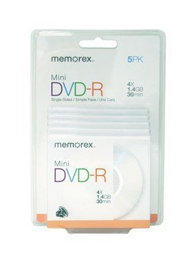 Memorex Mini Dvd-R Discs Works With Camcorders, Recorders & Drives Dvd-R/Rw 1.4 Gb Boxed 5/Pack by Memorex 1,4 Gb Mini-dvd