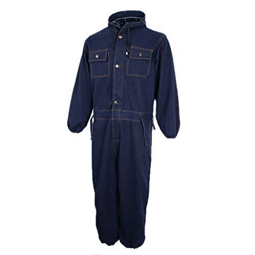 FLAMEER Tuta Manica Lunga Lusso Sicurezza Ignifuga Jumpsuit Jeans Completo Set Lavoro - Blu Navy, Medio 170-175