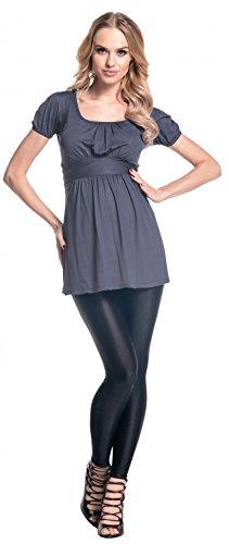 Happy Mama. Damen Umstands-Top Empire-Taille. Schwangerschafts Shirt. 408p Blau Grau