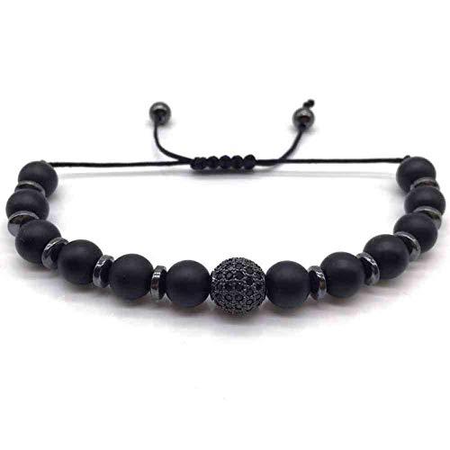 Imagen de jyhw moda hombres mujeres bola pulsera encanto hecho a mano para hombres mujeres joyería trenzado macrame pulsera de cuentas de piedra regalo,4