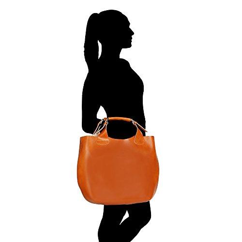 Frau Handtasche mit Schultergurt aus echtem Leder Made in Italy und abnehmbarem Baumwoll-Innenbeutel Chicca Borse 44x30x13 Cm Bräunen