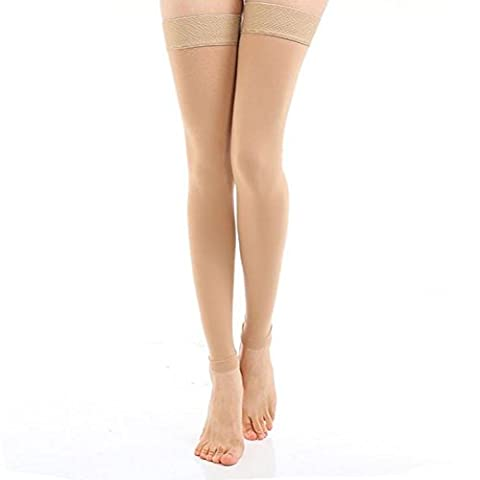 Butterme Women's Medical Thigh High Overnight Compression Sock Stockings 20-30mmHg (Footless Nude, Size XL)