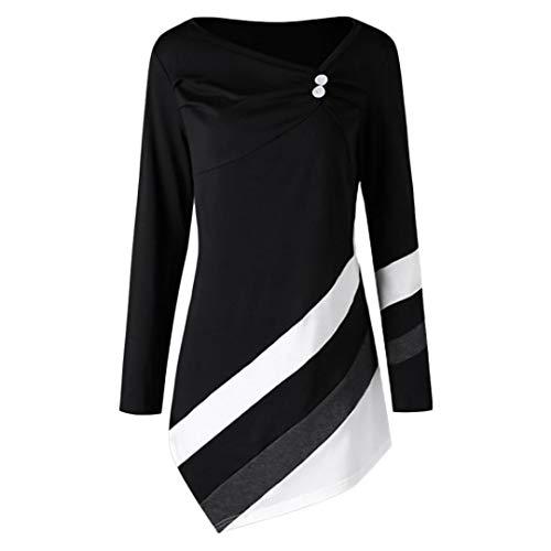 IMJONO Oberteile Damen Hemden Button-Down Streifen Langarm Hemdbluse Casual und Schlank Blusen 10 Farbe S/M/L/XL/XXL(EU-44/CN-3XL,Schwarz)