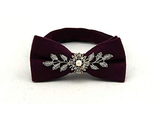 JxucTo Einstellbare Mode Gem Bow Ties Männer Pre-gebunden Bowties für Männer (Jujube Red) (Größe : 12x6cm)