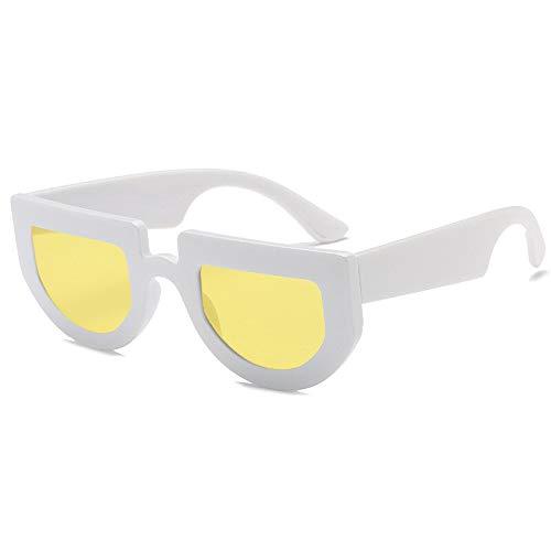 Yuhangh occhiali da sole a metà tondo da donna con montatura spessa nera occhiali da sole vintage retrò per donna uomo unisex