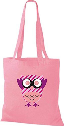 ShirtInStyle Jute Stoffbeutel Bunte Eule niedliche Tragetasche mit Punkte Karos streifen Owl Retro diverse Farbe, schwarz rosa