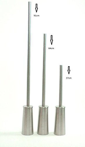 topfurnishing Lange WC-Bürstenhalter Edelstahl Qualität Wechselkopf 91cm hoch 3cm dick Griff, Metall, silber, 20x 20x 30cm